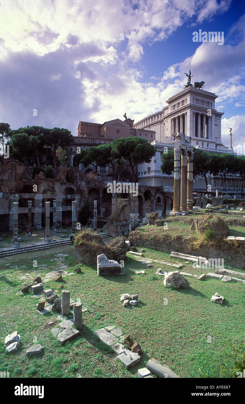 Part of The Forum and monument to Victor Emanuelle Rome Italy - Stock Image