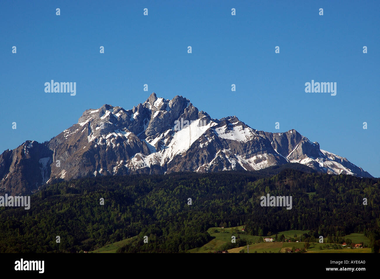 Mount Pilatus viewed from City of Lucerne - Stock Image