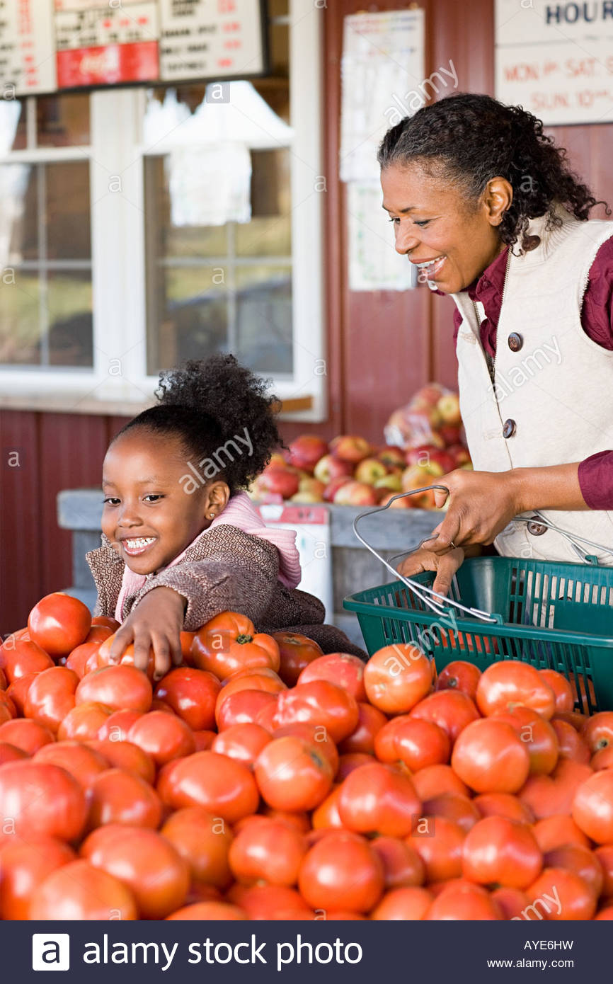 A grandmother and granddaughter choosing tomatoes - Stock Image