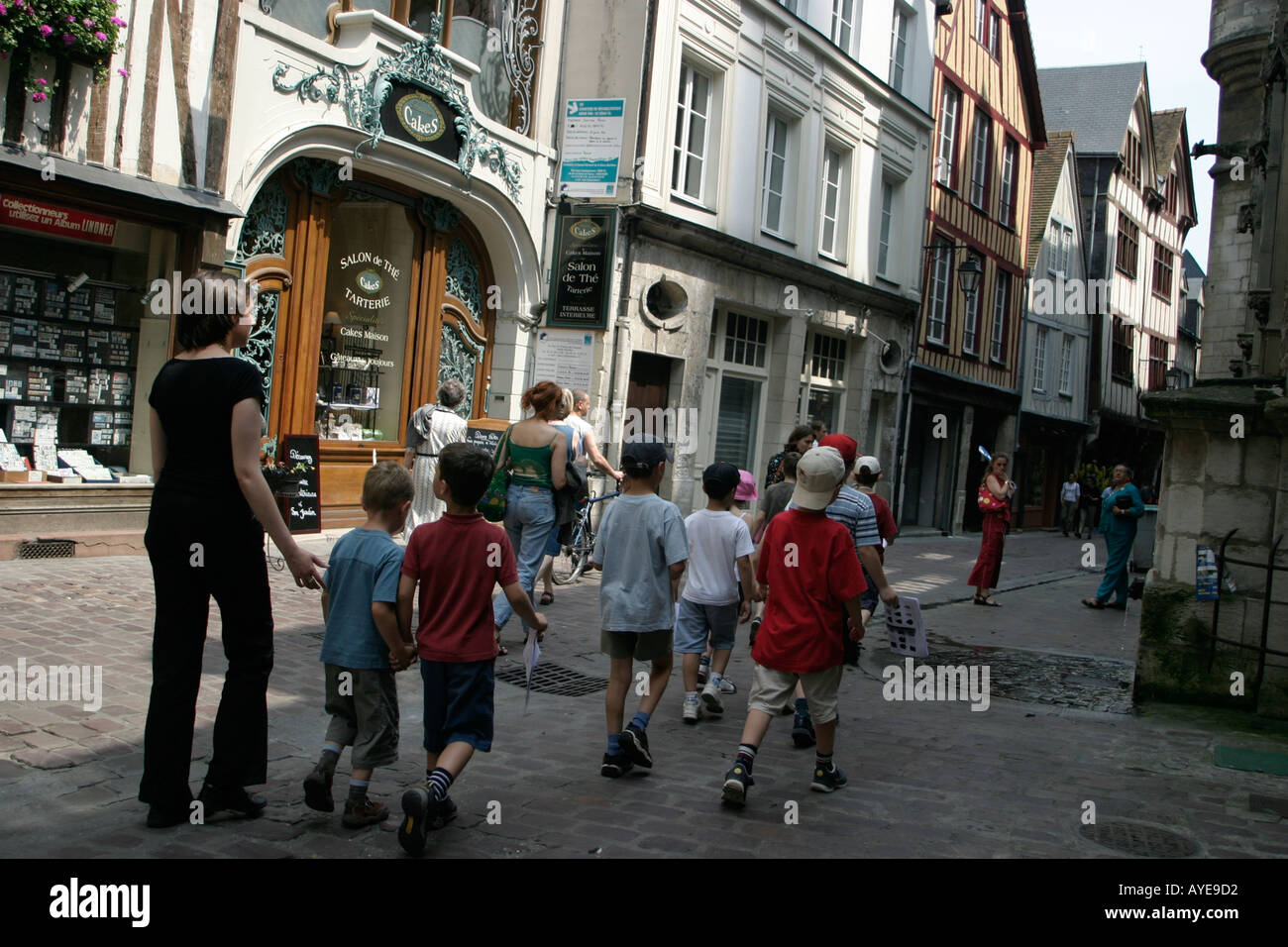 French schooltrip in the old streets of Rouen France Stock Photo