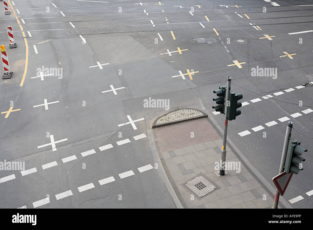 Tram lines on a road - Stock Image