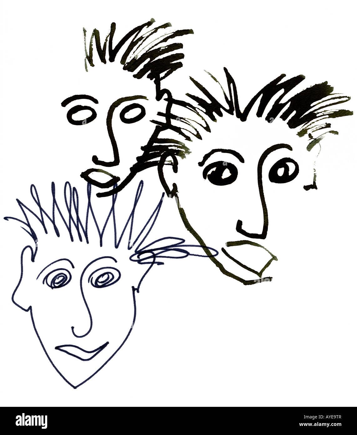 Graphic artwork - comic faces. - Stock Image
