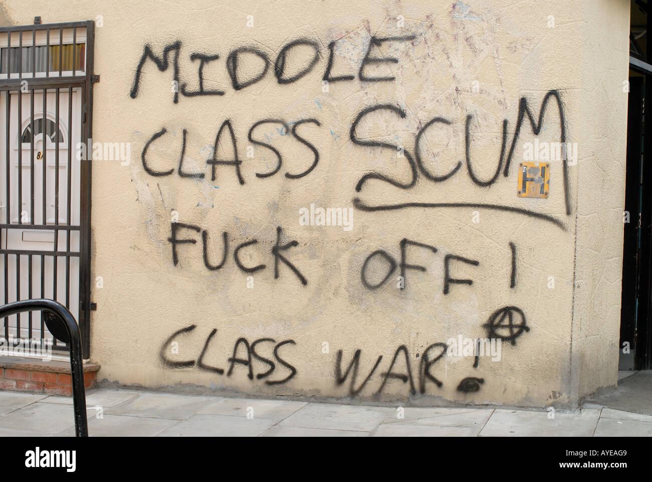 Hackney London Fields Broadway market Anti middle class graffitti - Stock Image