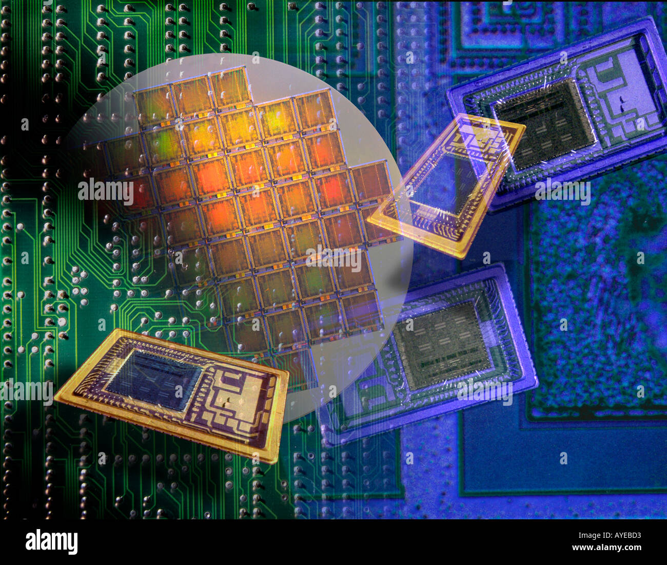 silicon computer chips montage - Stock Image