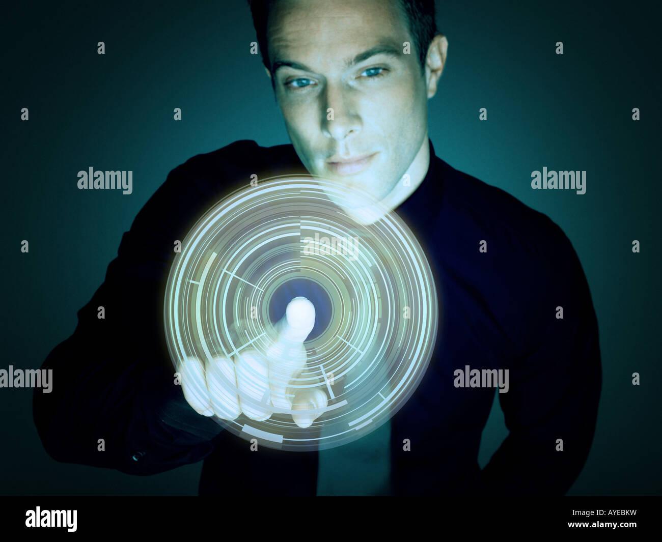 Man touching circle - Stock Image
