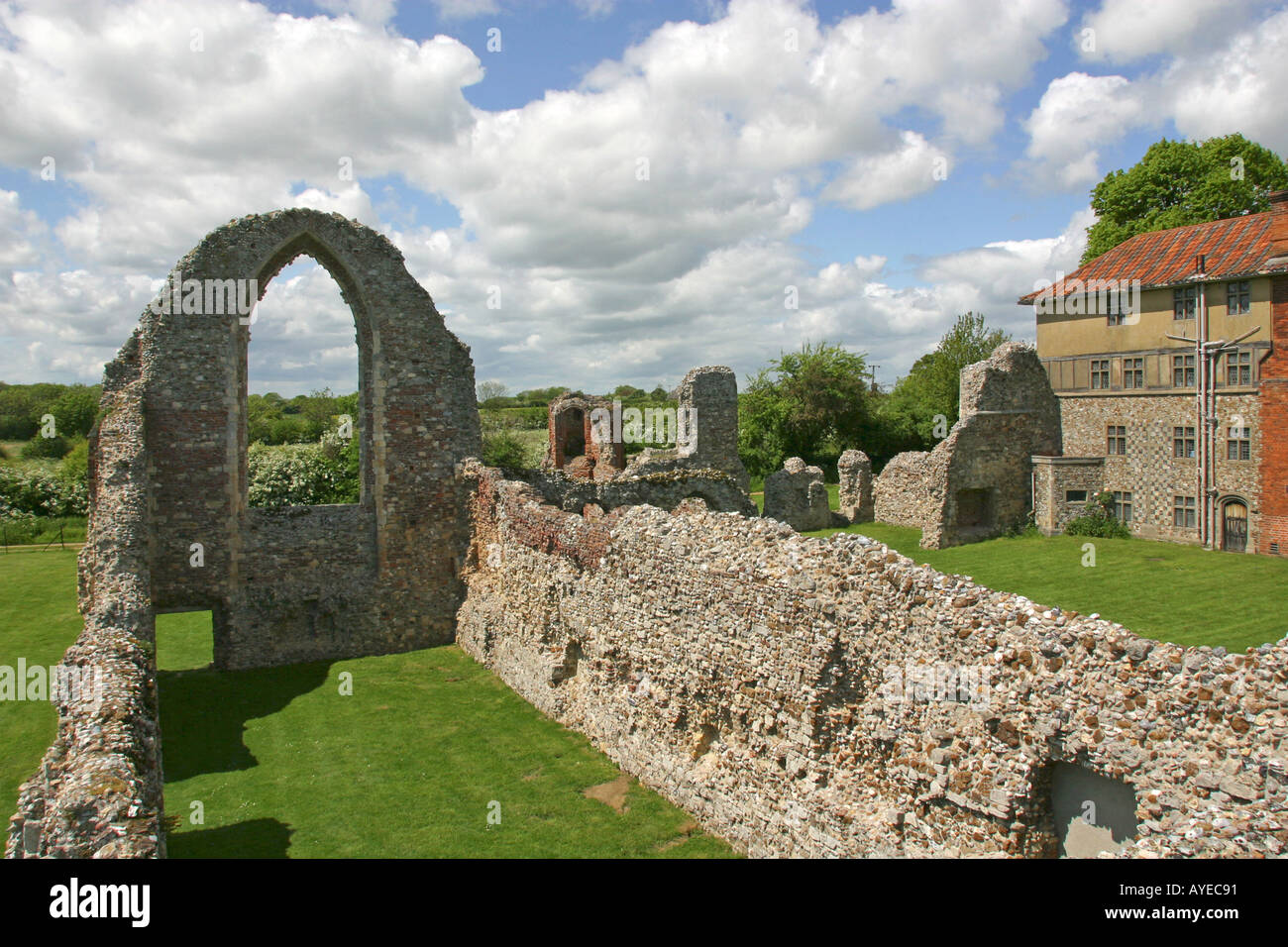 Ruins of Leiston Abbey Leiston Suffolk East Anglia UK - Stock Image