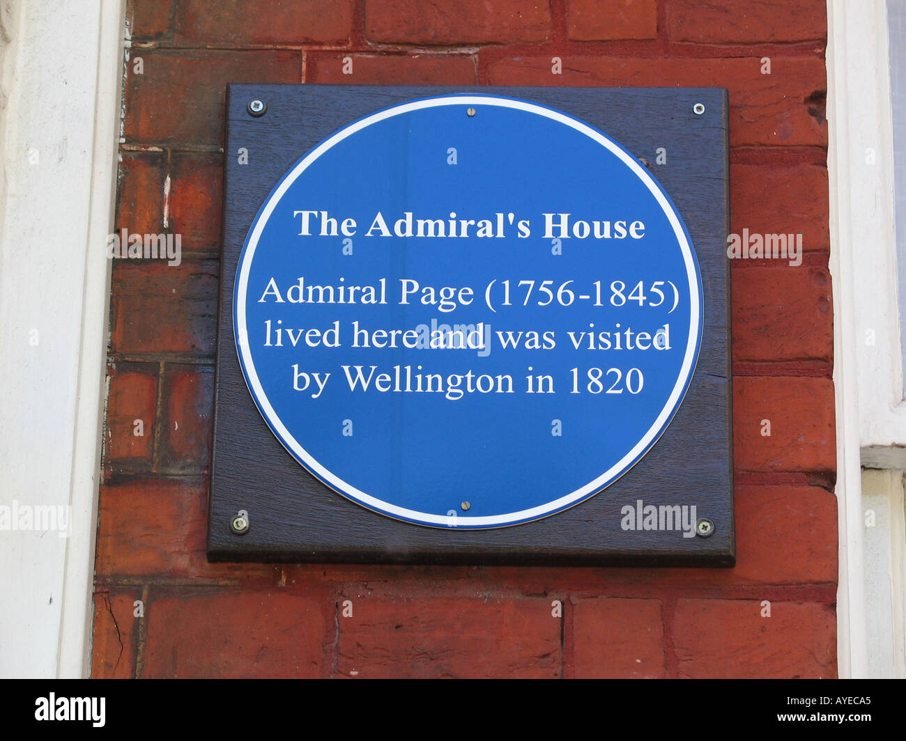 """Blue plaque on """"The Admirals House"""" in Ipswich Admiral Page. Suffolk GB UK Stock Photo"""
