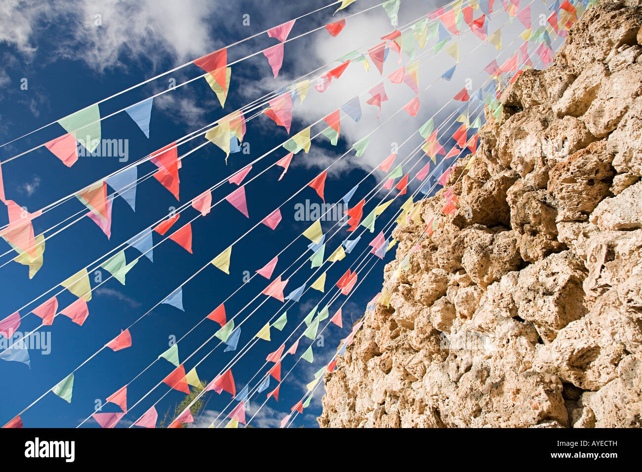 Bunting by rocks - Stock Image
