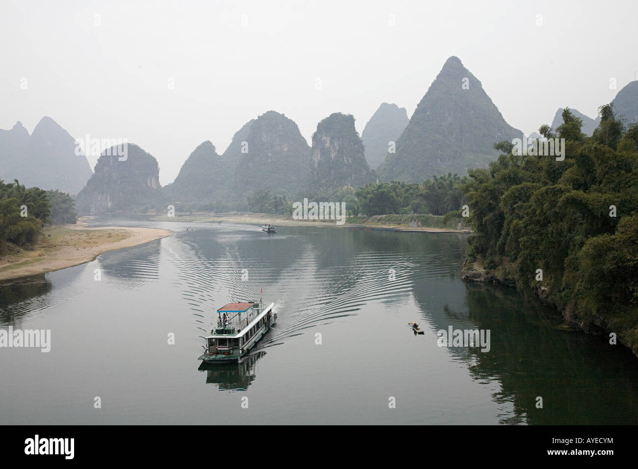 Boat on lijiang river Stock Photo