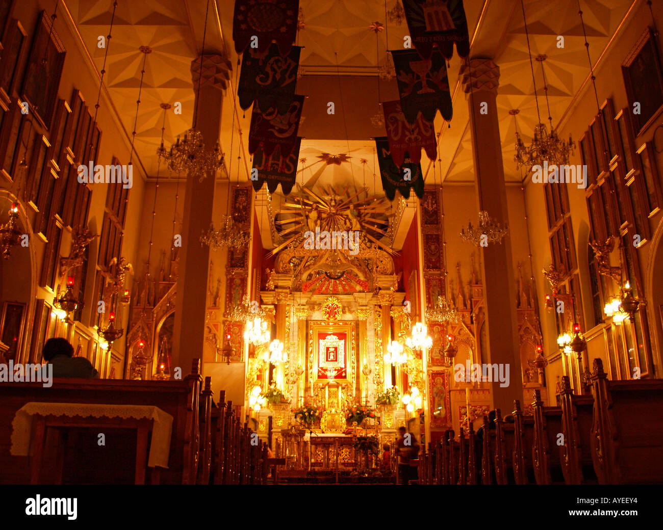 Altar with Our Lady St Mary in Church of St Dorothy Lichen Poland - Stock Image