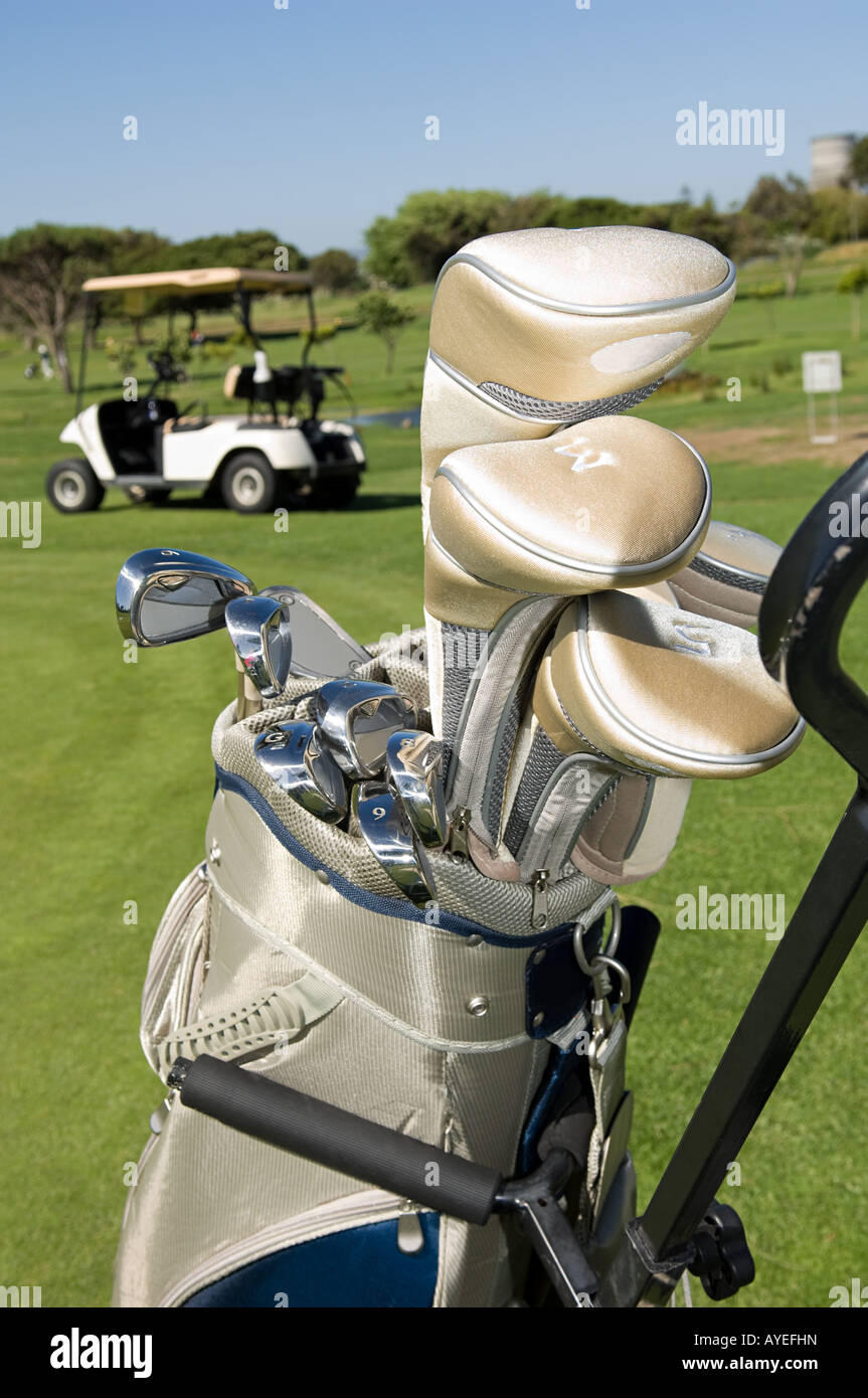 Golf clubs in a golf bag - Stock Image