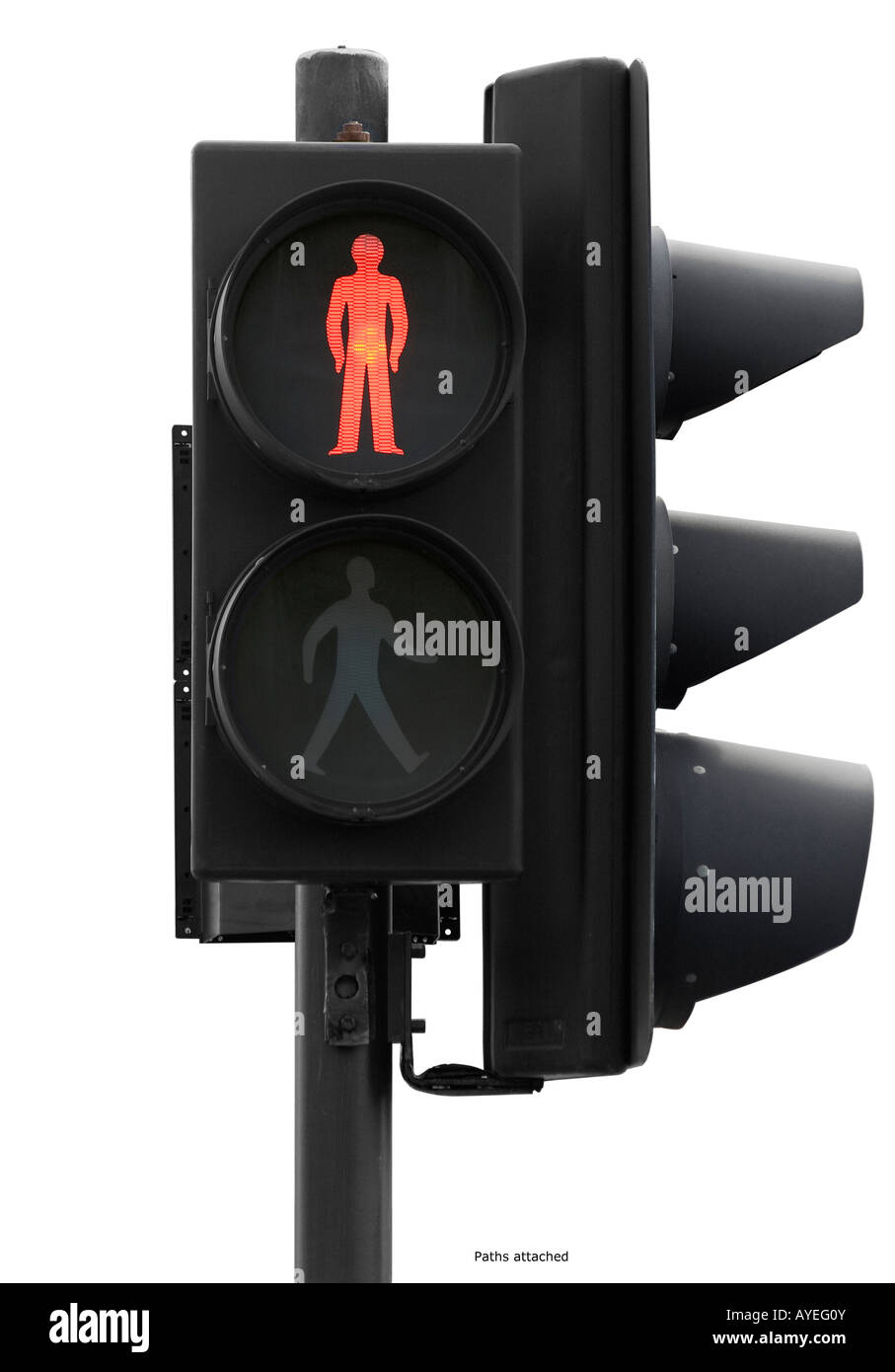Traffic lights with red crossing man - Stock Image