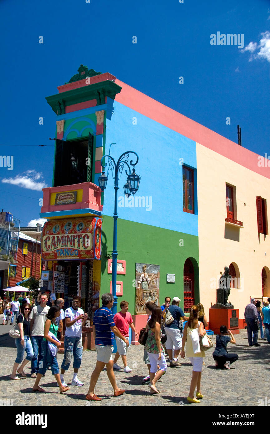 Colorful buildings on the Caminito in the La Boca barrio of Buenos Aires Argentina - Stock Image