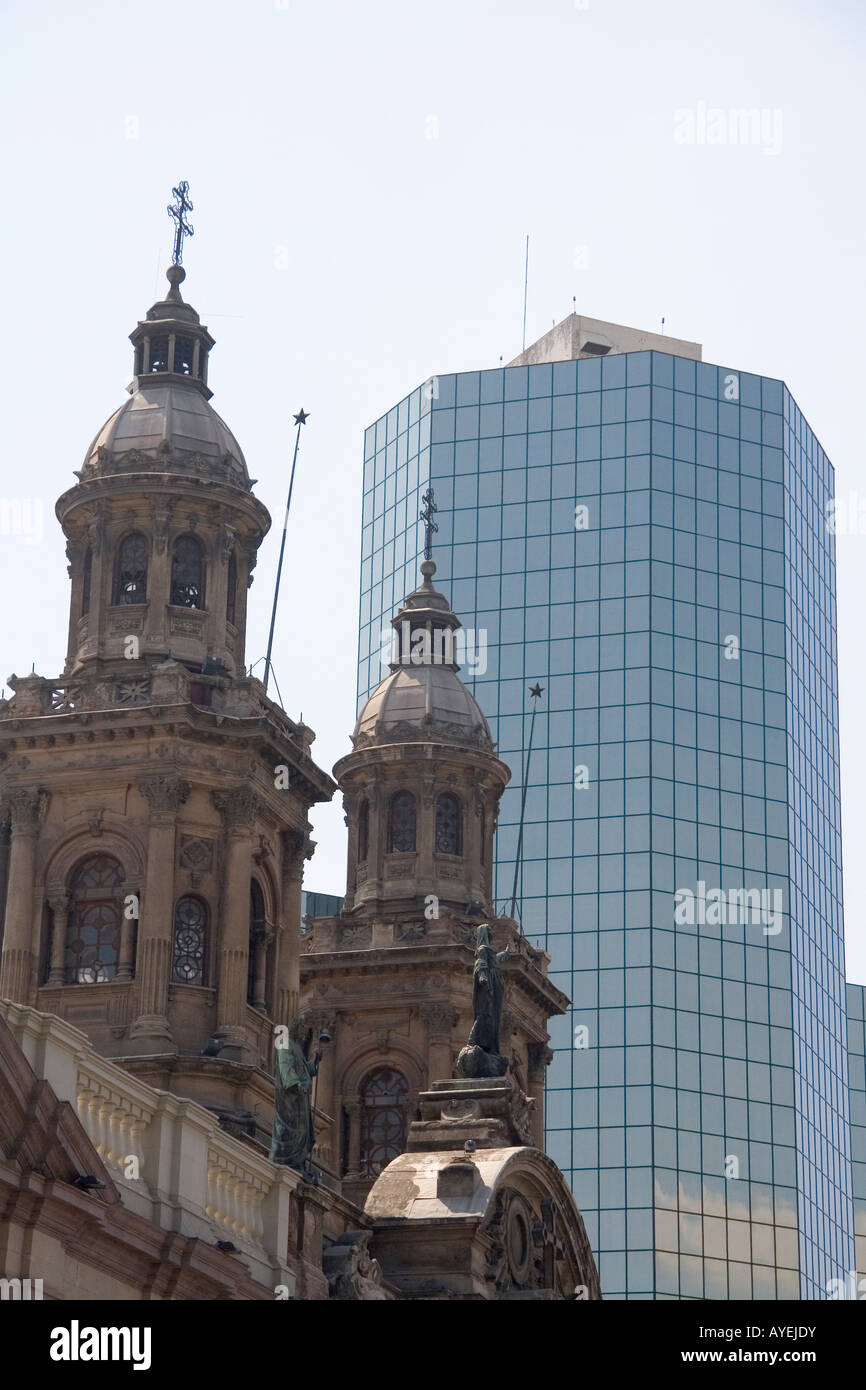 The Metropolitan Cathedral and modern office building in Santiago Chile - Stock Image