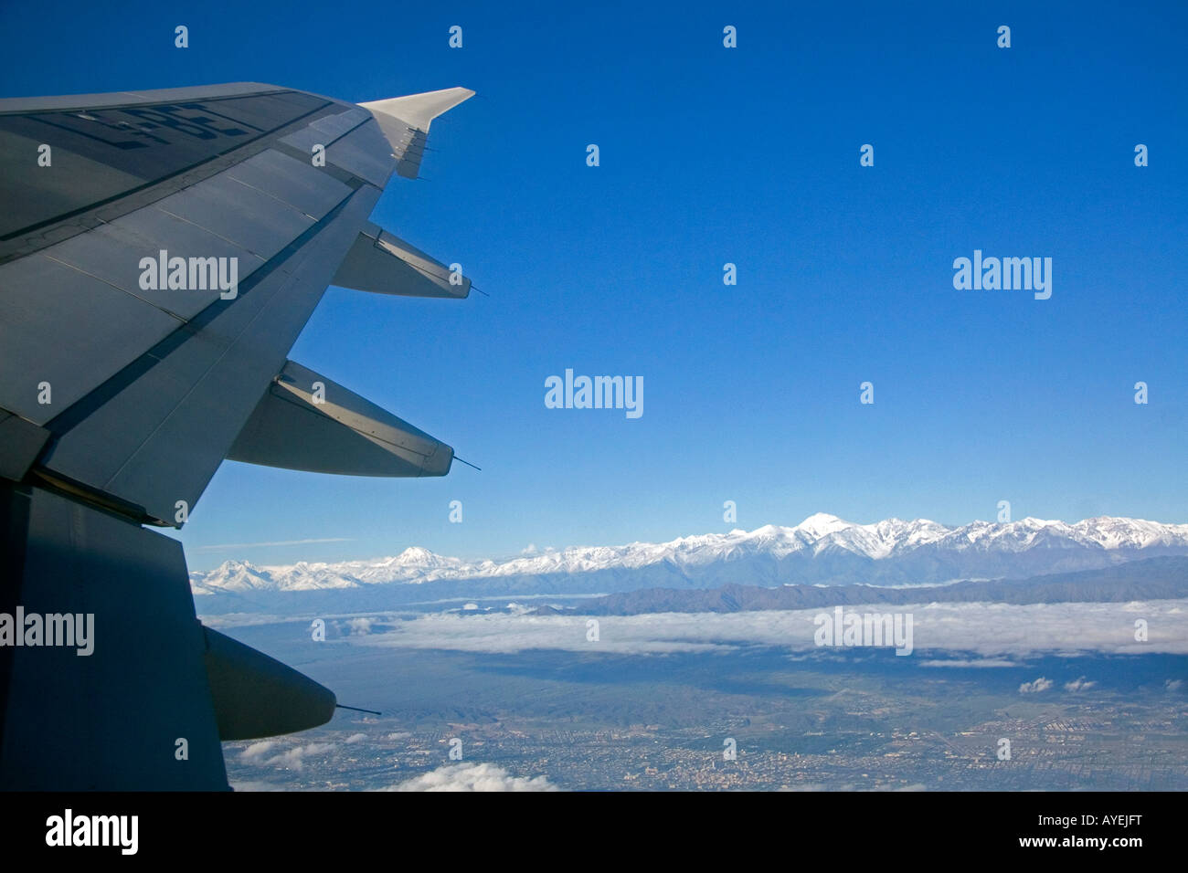 View out the window of an airplane of the Andes Mountain Range Argentina - Stock Image