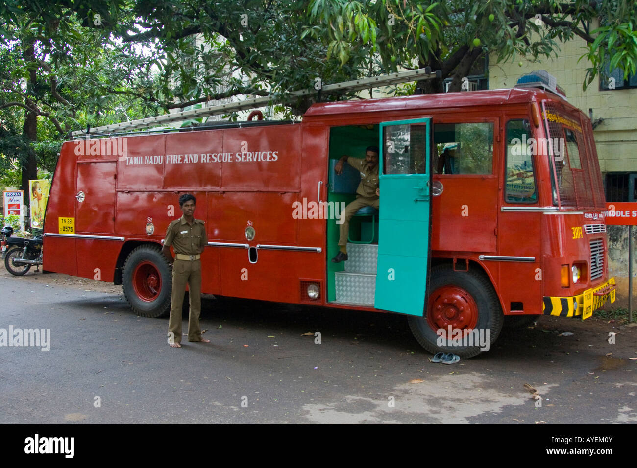 Fire Engine Rescue Services Truck In Chennai South India   Stock Image