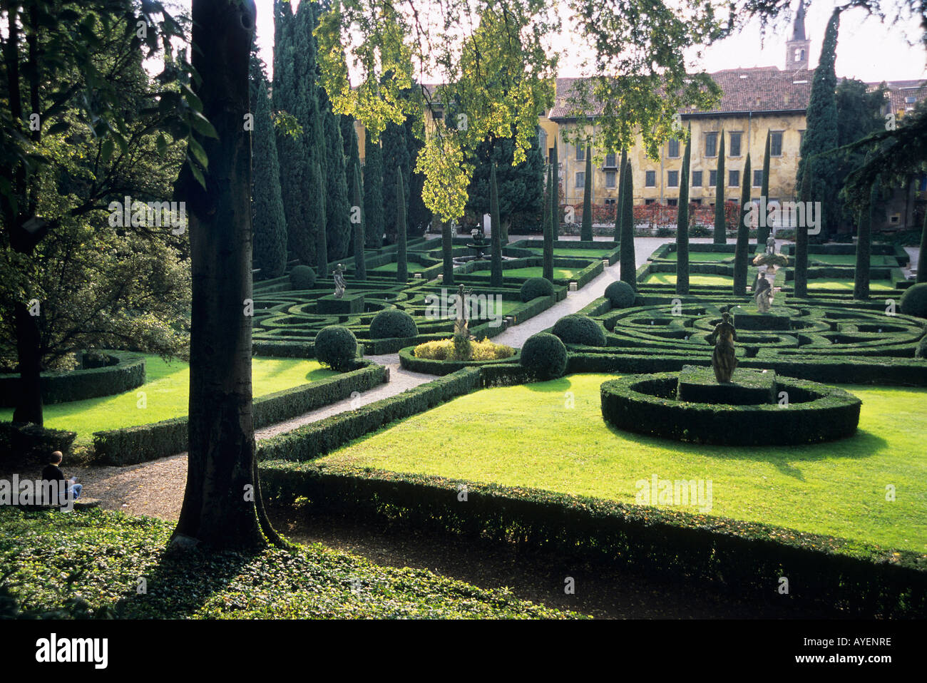 Manicured gardens with box hedging of giardino giusti verona begun
