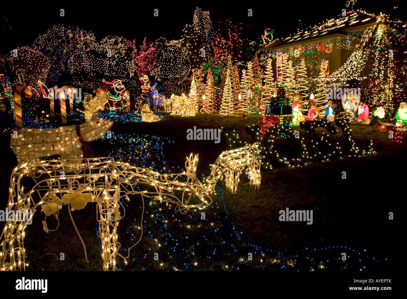 Christmas Lights Boise.Holiday Season Light Display In Boise Idaho Stock Photo