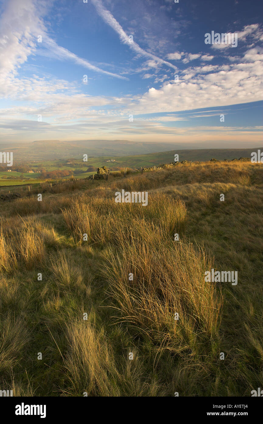 Scout moor and Knowl moor from Burnt Hill Autumn Helmshore Lancashire UK - Stock Image