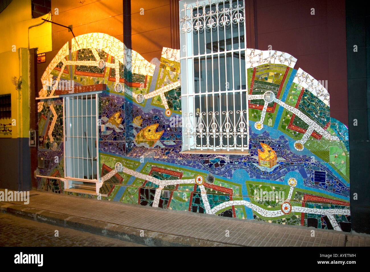 Mosaic mural on the side of a building in Buenos Aires Argentina Stock Photo