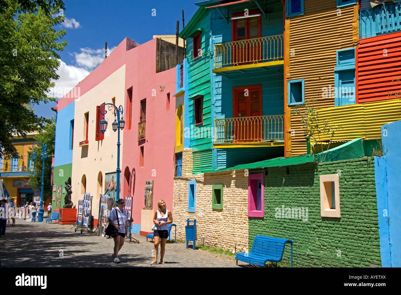 Colorful Buildings In The La Boca Barrio Of Buenos Aires Argentina