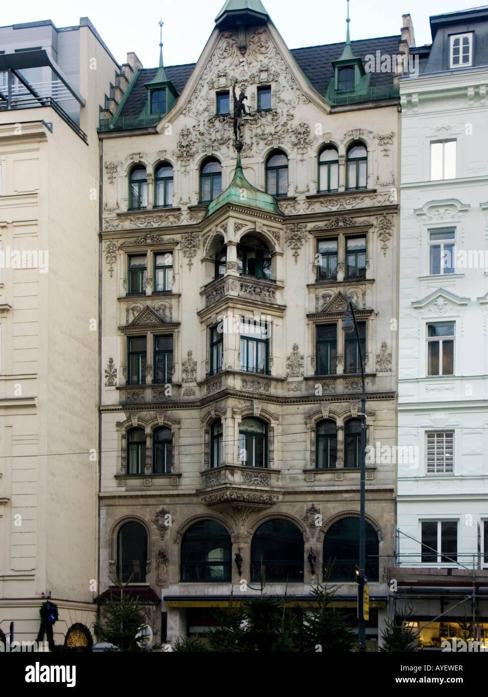 Jugendstil (Art Nouveau) facade in Neuer Markt, Vienna, Austria - Stock  Image