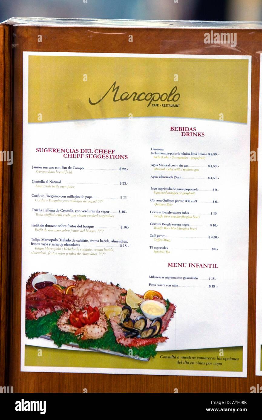 Spanish language restaurant menu at ushuaia on the island of tierra spanish language restaurant menu at ushuaia on the island of tierra del fuego argentina forumfinder Image collections