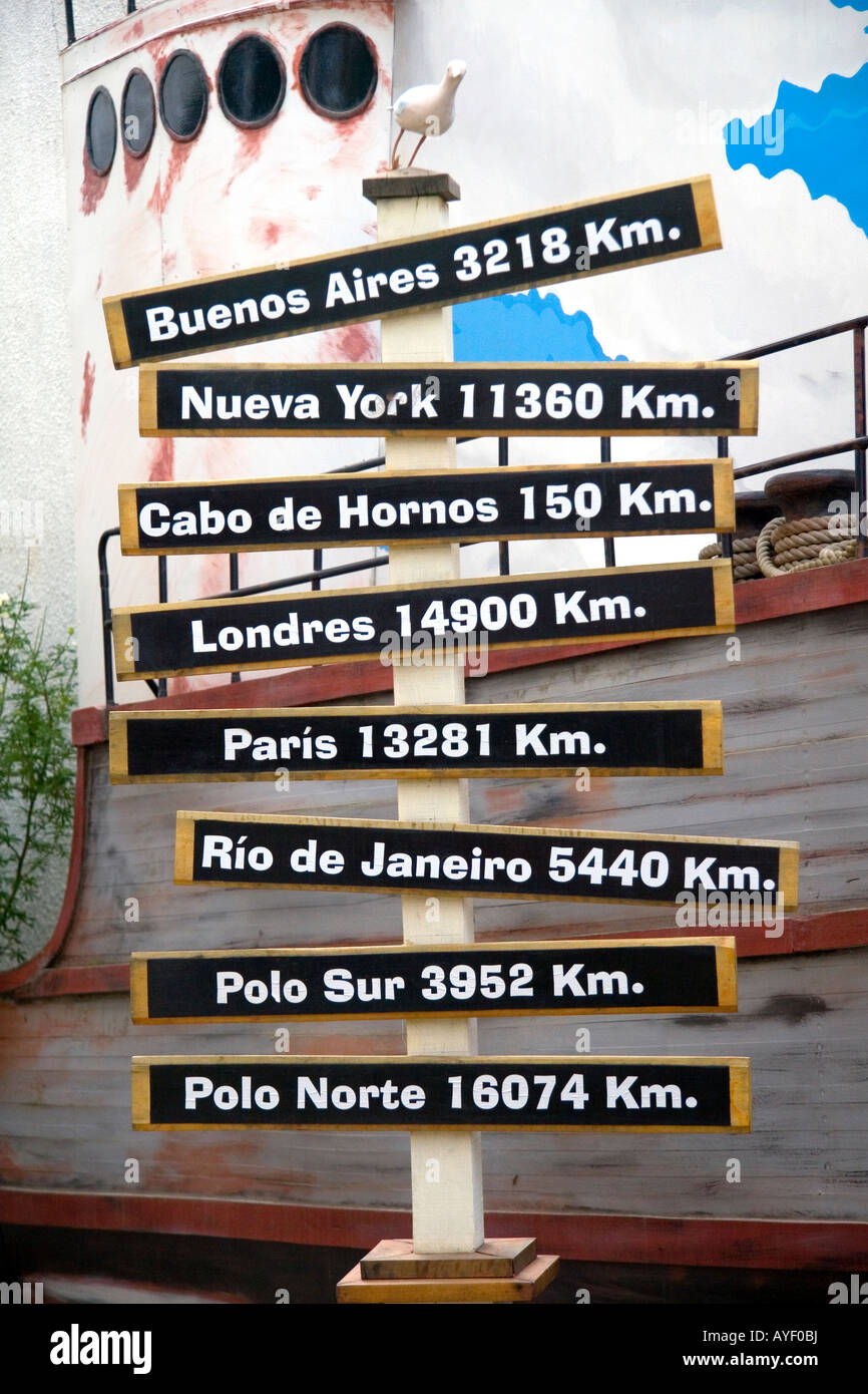 Sign showing distances in kilometers from Ushuaia on the island of Tierra del Fuego Argentina - Stock Image