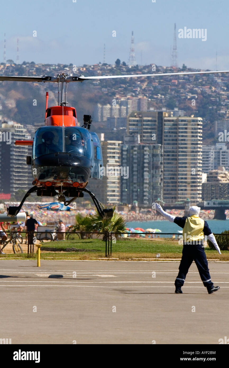 Armada de Chile helicopter taking off at Vina del Mar Chile - Stock Image