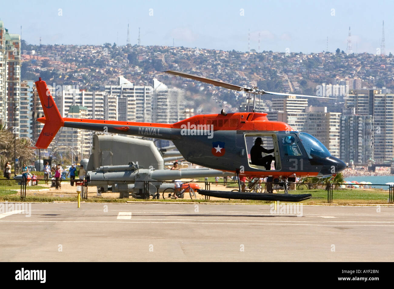 Naval helicopter of the armada de Chile taking off at Vina del Mar Chile - Stock Image