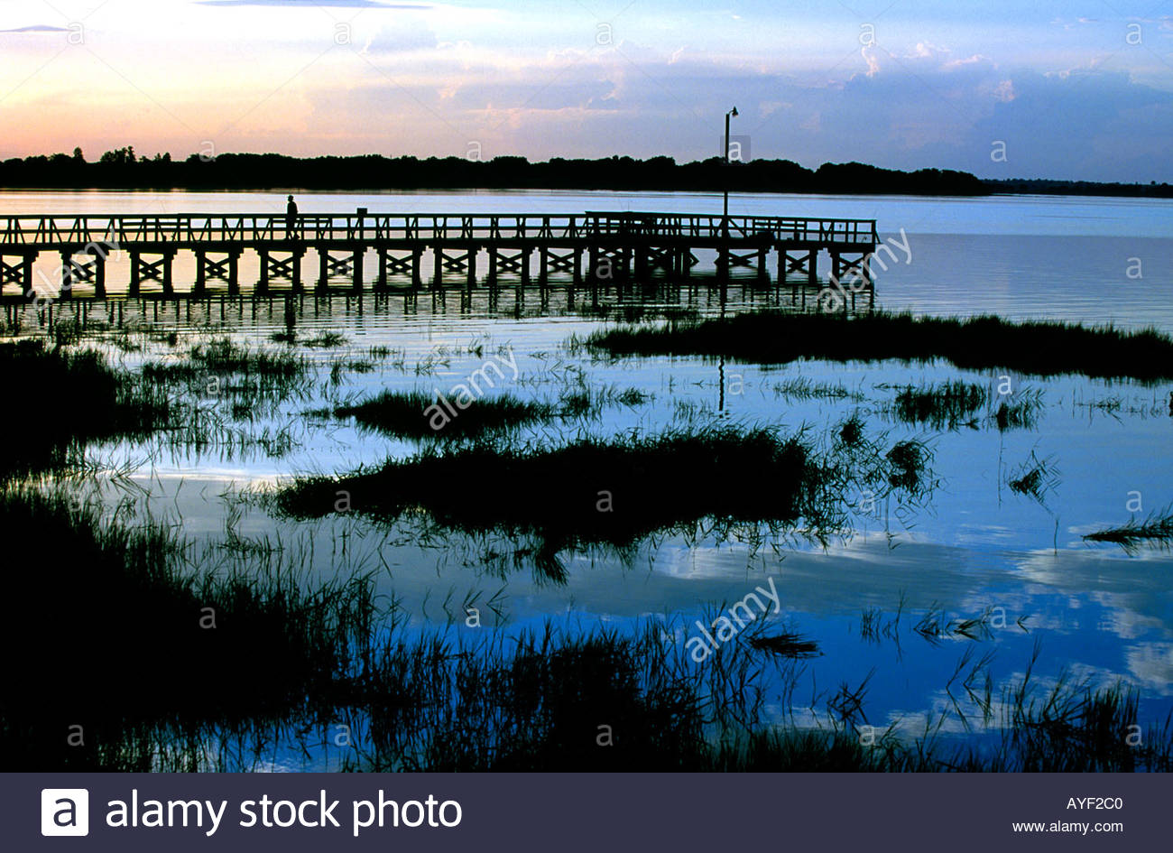 Blue sky and white clouds reflect on Lake Mineola at Clermont Florida USA - Stock Image