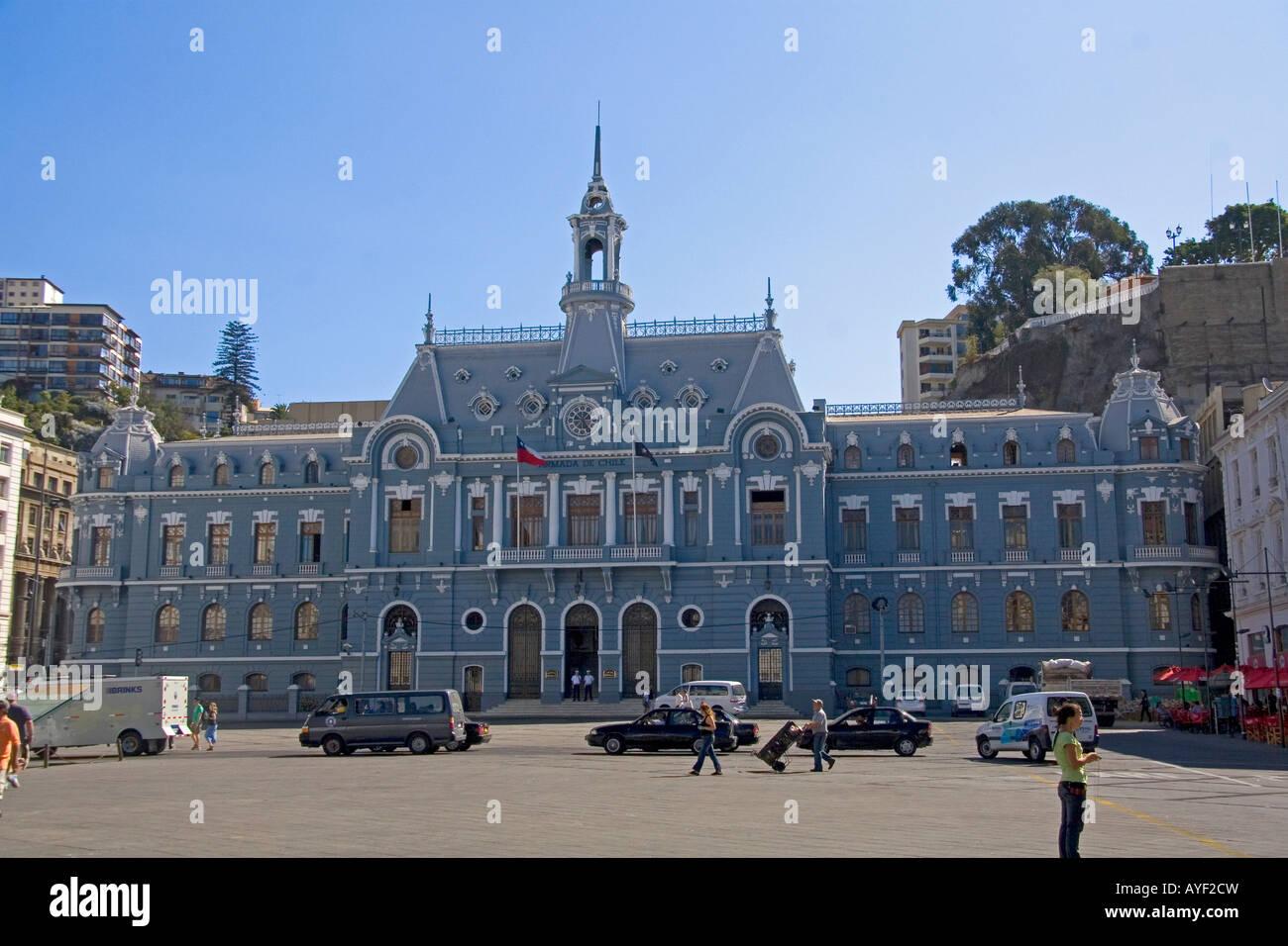 Armada de Chile building in Valparaiso Chile - Stock Image