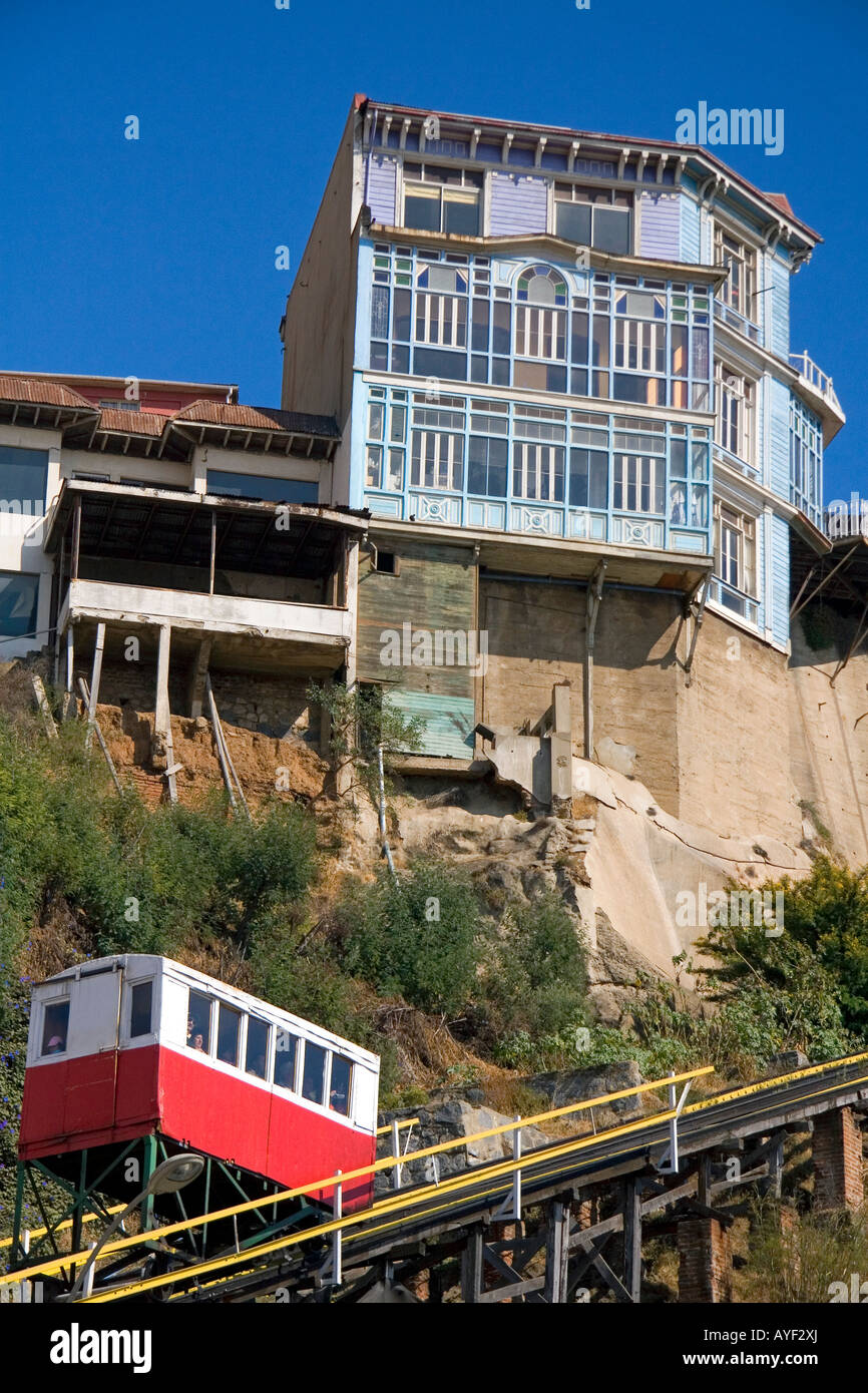 Tram like vehicle is part of a funicular railway at Valparaiso Chile - Stock Image