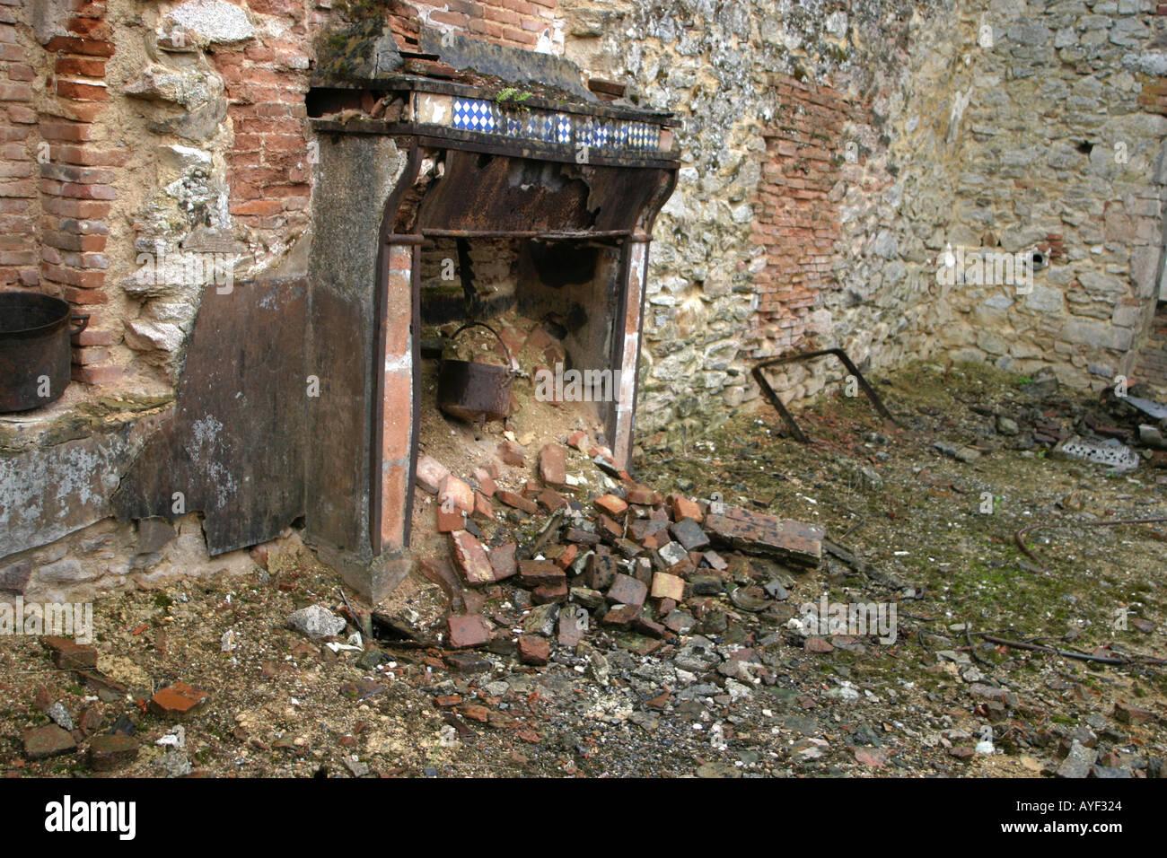 Old fireplace at Oradour sur Glane preserved Limousin village scene of WW2 Nazi SS massacre and destruction France - Stock Image