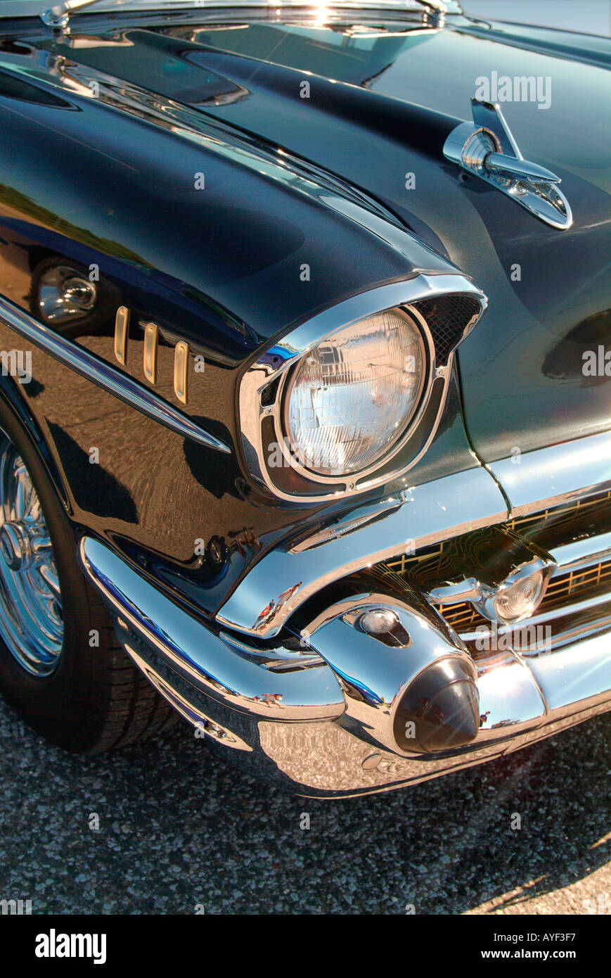 A detail of a black 57 Chevy Belair restored car - Stock Image
