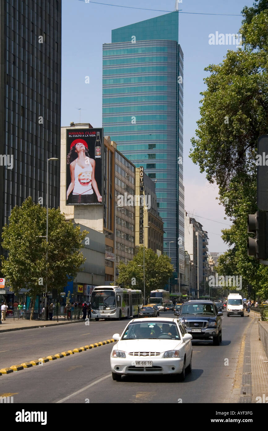 Traffic and highrise buildings on Libertador General Bernardo O Higgins Avenue in Santiago Chile - Stock Image