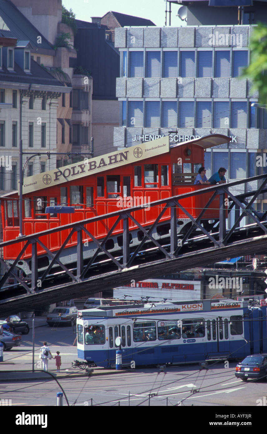 Polybahn cable railway at the Central Platz place in Zurich Switzerland Stock Photo