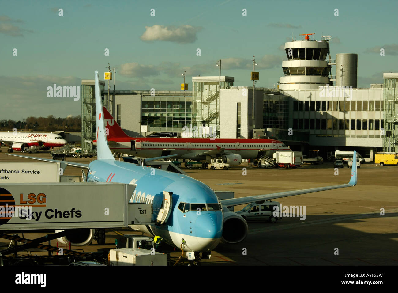 plane at Duesseldorf Airport NRW Germany - Stock Image
