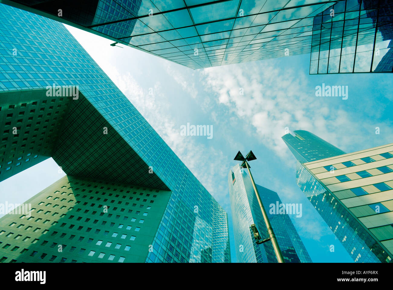 skyscrapers in financial district of La Defense Paris France - Stock Image