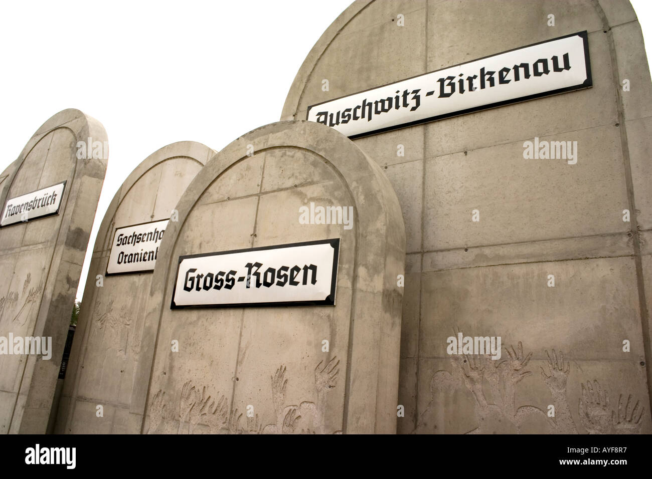 Tombstones at the Radegast Station where 200,000 Jews were transported to Auschwitz and other death camps. Lodz Central Poland - Stock Image