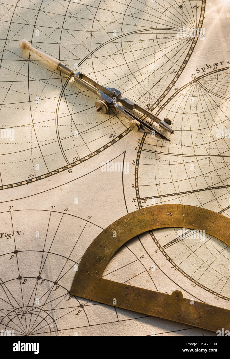 Protractor and drafting compass on antique map