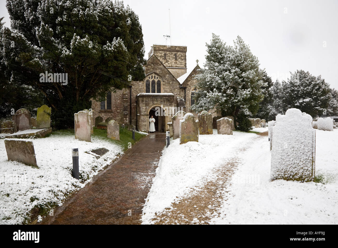 All Saints Church Fawley in the snow - Stock Image