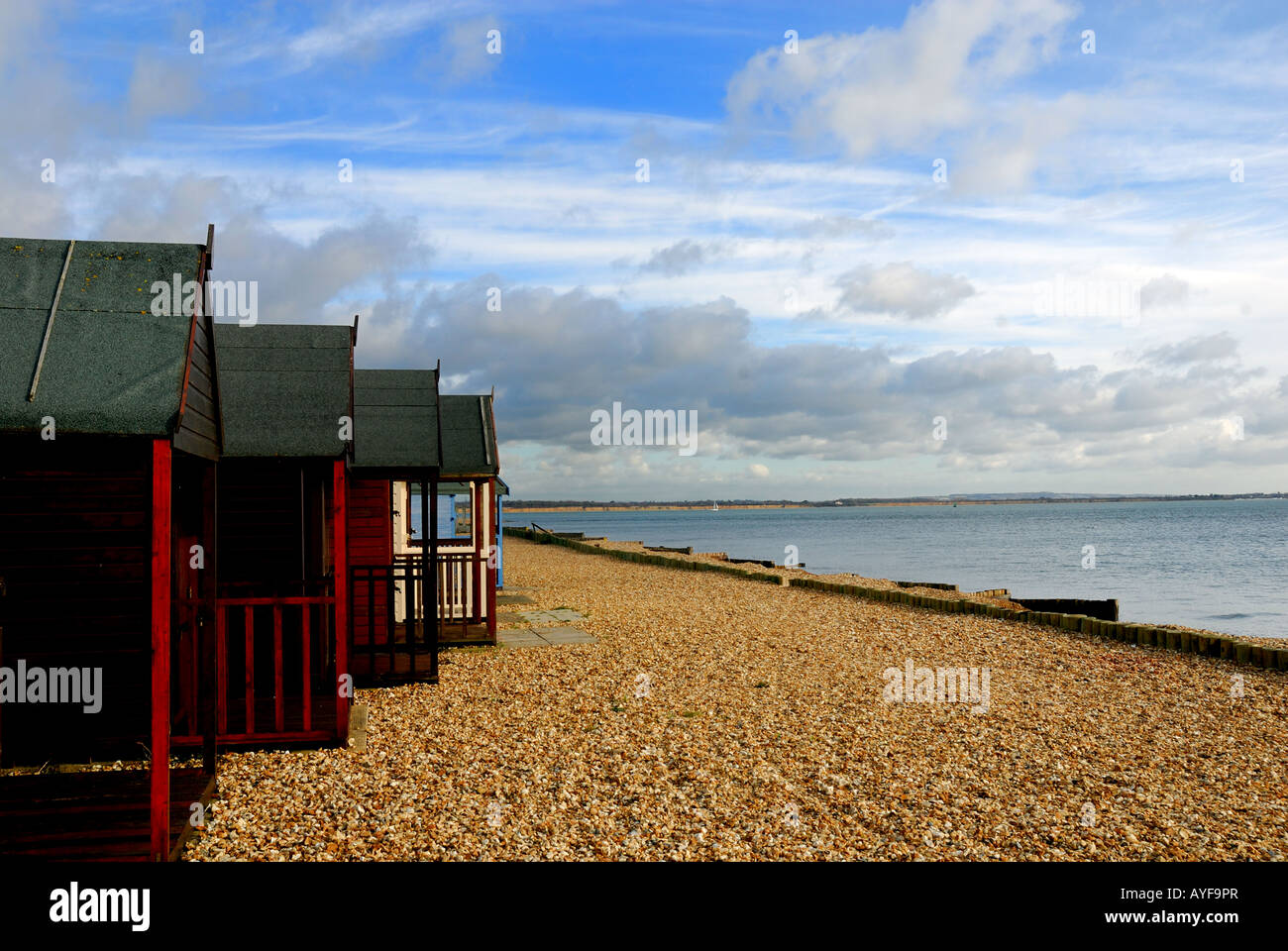 Beach huts Calshot Hampshire U K - Stock Image