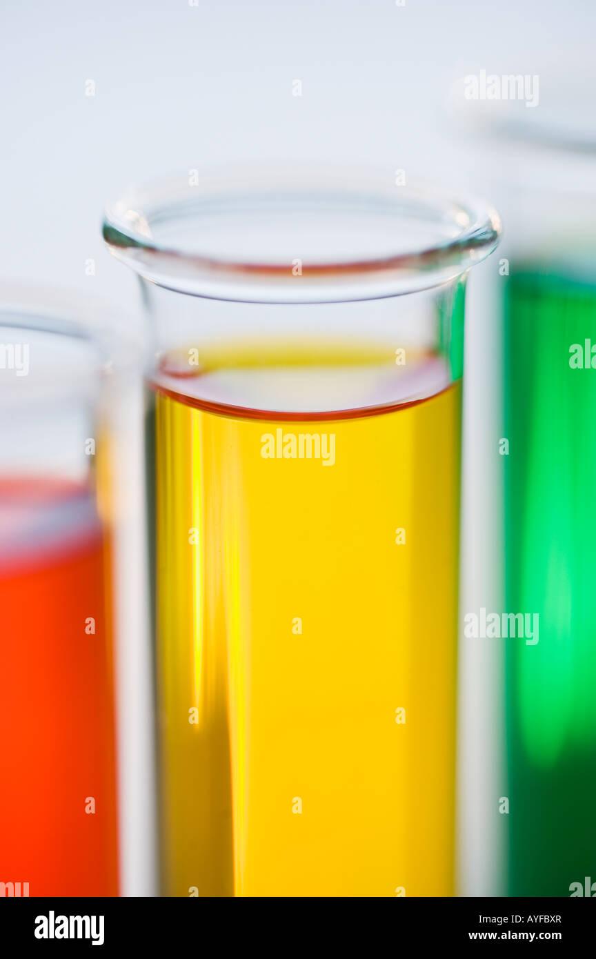 Multi-colored liquids in vials Stock Photo