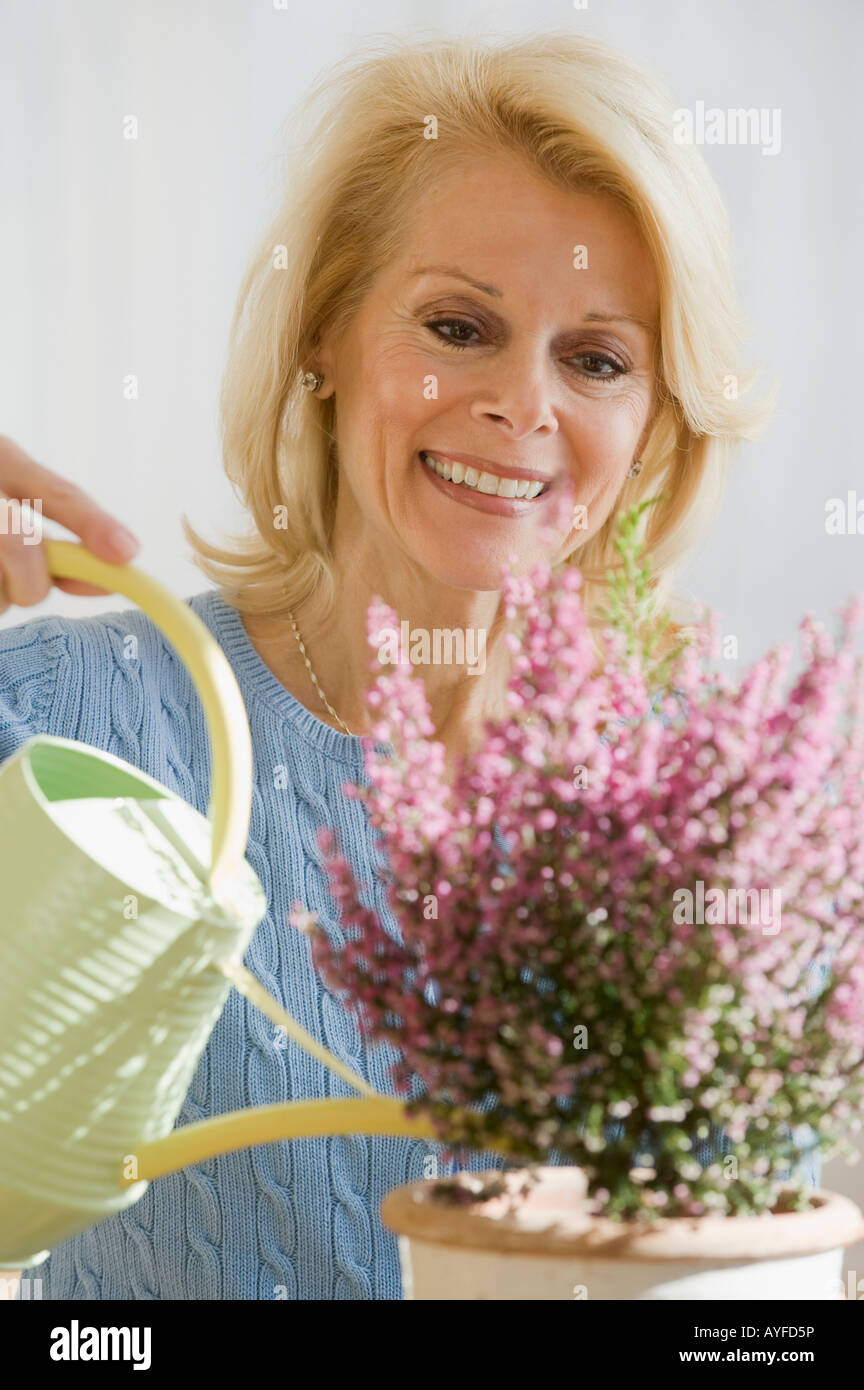 Senior woman watering plant - Stock Image