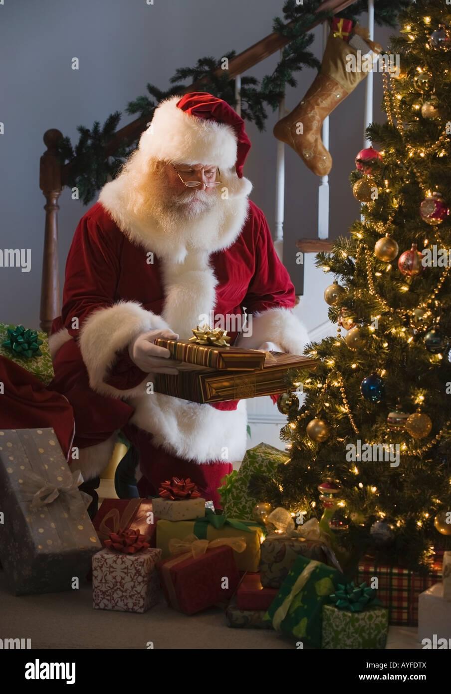 Santa Claus leaving gifts under Christmas tree Stock Photo: 17092729 ...