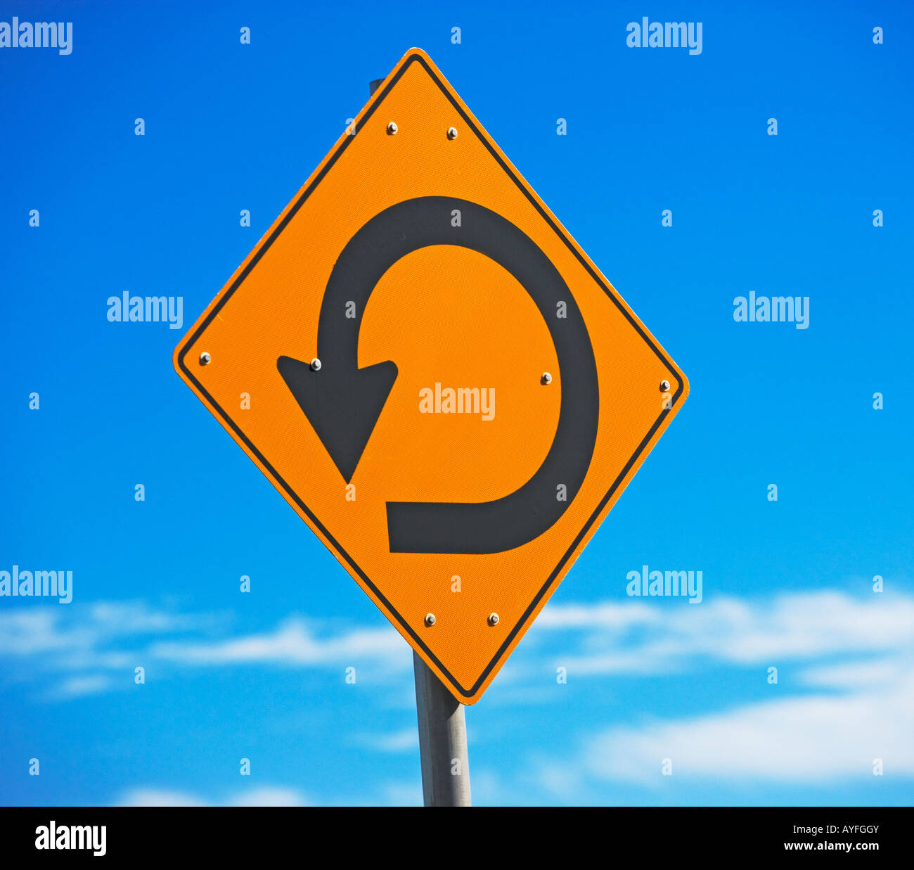 round a bout sign, sign - Stock Image