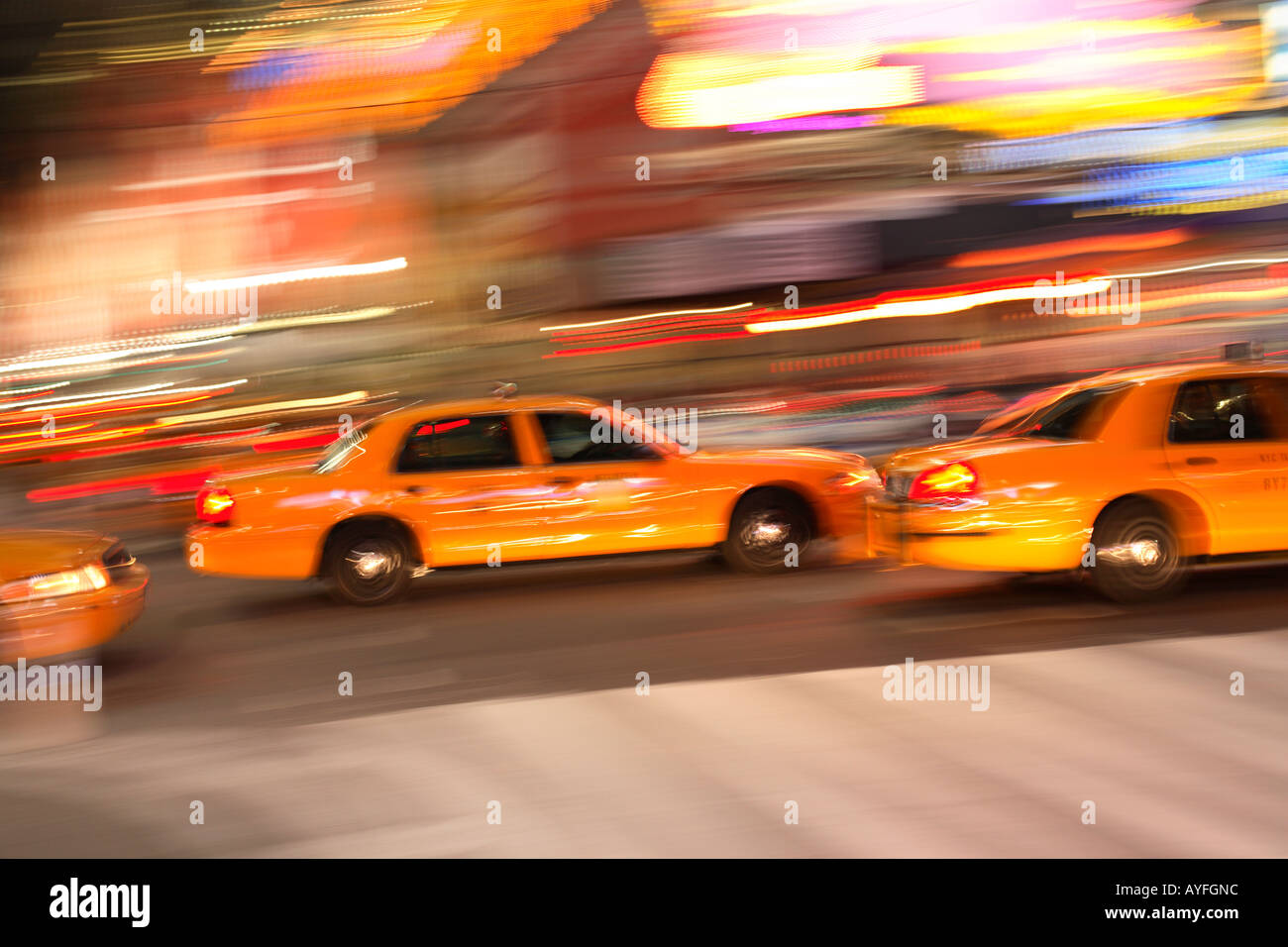 Taxi Cabs in Times Square, New York City - Stock Image