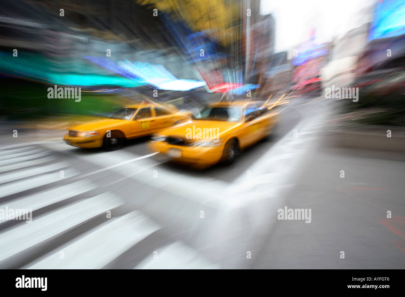 Taxi Cabs, New York City - Stock Image