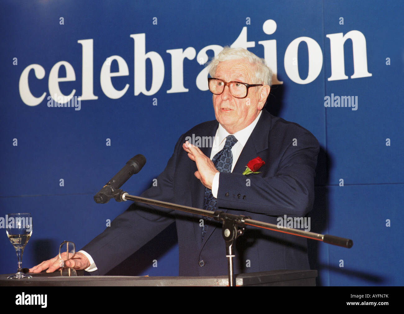 Dr Garret FitzGerald former prime minister of Ireland speaking at his 75th birthday celebrations - Stock Image